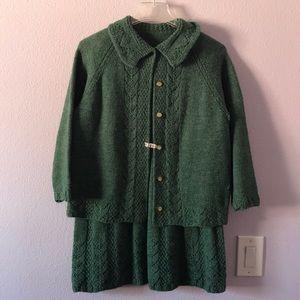 Vintage dark green hand knitted skirt set